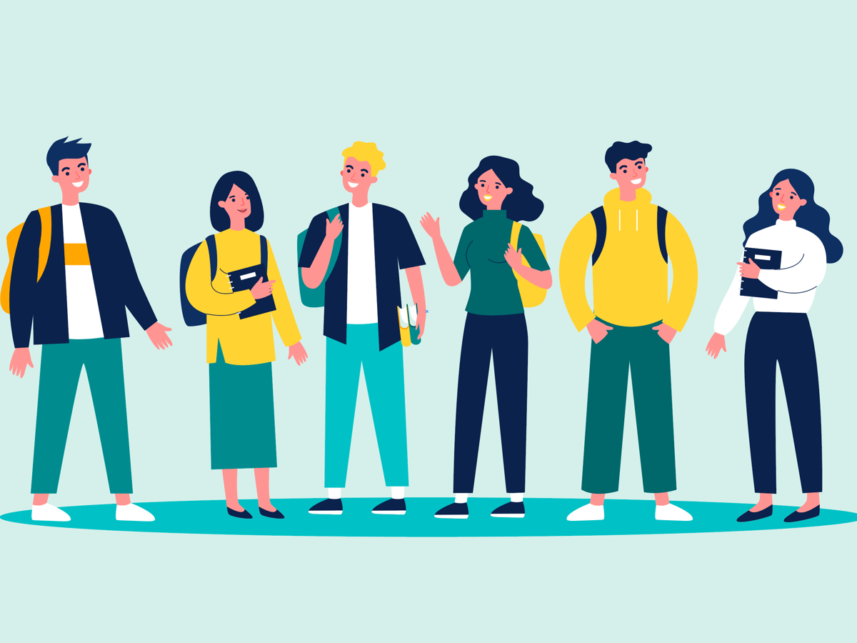 Illustration of a group of students