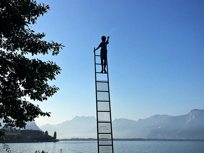 Figure at the top of a ladder illustrating skills for career progression, online learning