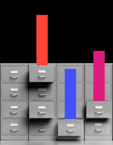 Coloured bars come out of filing cabinet drawers like information from the case studies found in this series collection